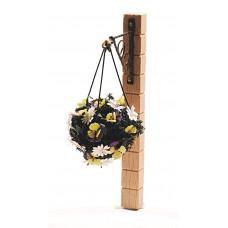 Hanging Basket met violen en Spaanse margrietjes paars/geel/wit