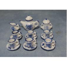 P36 Porseleinen blauw theeservies 15-delig