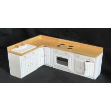 M100 4-delige keuken set, kasten wit, blad massief blank hout