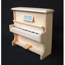 M12 Blankhouten piano met beweegbare klep, toetsen en muziekblad